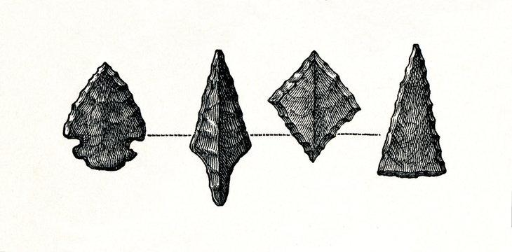 Stone arrowheads from prehistoric stilt-house settlement (from Meyers Lexikon, 1896, 13/754/755)