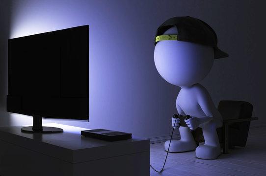 Spielsucht - Süchtiger Junge sitzt mit seinem Gamepad in der Hand vorm nachts vorm Fernseher