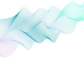 Abstract wavy striped pattern on white background. Vector light aquamarine wave. Line art design element. Elegant flowing shiny waves, ribbon imitation. EPS10 illustration
