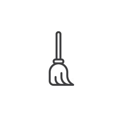 Broom outline icon. linear style sign for mobile concept and web design. Mop simple line vector icon. Symbol, logo illustration. Pixel perfect vector graphics
