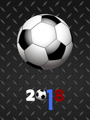 Soccer football and decorated 2018 over black metallic panel