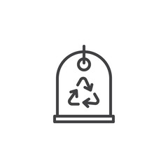 Recycle tag outline icon. linear style sign for mobile concept and web design. eco labels simple line vector icon. Symbol, logo illustration. Pixel perfect vector graphics