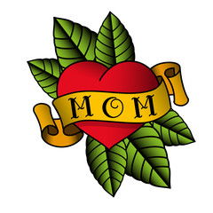Old school tattoo. Red heart with a yellow ribbon around with the word mom on the rose leaves. Isolated on white background. Vector illustration