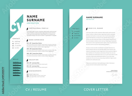 Creative CV / resume template teal green background color minimalist ...