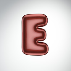Glossy paint letter E. 3D render of bubble font with glint isolated on white background