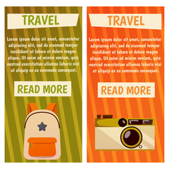 Vector banner with travel items. Flat illustration. Backpack, bag, photocamera