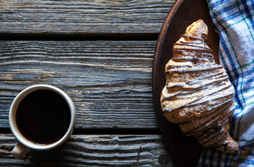 Coffee cup with croissant for breakfast. Food, morning, snack