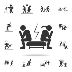 quarrel of a loving couple icon. Detailed set of illustration bad family icons. Premium quality graphic design. One of the collection icons for websites, web design