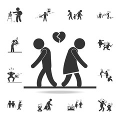 fall out of love icon. Detailed set of illustration bad family icons. Premium quality graphic design. One of the collection icons for websites, web design
