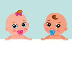 Cute Baby Girl And Boy With Blank Banner Vector Illustration. Cartoon Baby Image. Little Baby Girl And Boy Holding Banner Board.