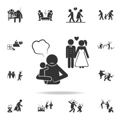 remarriage and abandoned children icon. Detailed set of illustration bad family icons. Premium quality graphic design. One of the collection icons for websites, web design