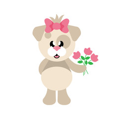 cartoon cute dog girl with bow and flowers