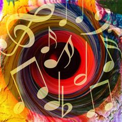 Bright music background with musical notes and a huge loud speaker