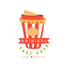 Fast food logo original design, badge with takeaway drink, fast food menu vector Illustration on a white background
