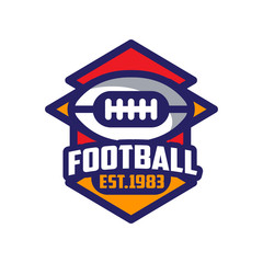 Football, est 1983 logo template, American football emblem, sport team insignia vector Illustration on a white background