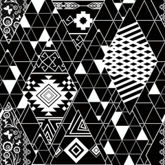 Seamless abstract geometric black and white pattern. Pechvork.