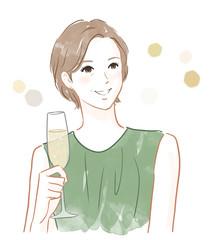グラスを持った女性