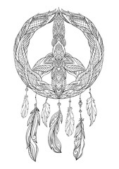 Hand drawn boho illustration of dream catcher with pacific sign and feathers. Vector element for printing on a T-shirt, postcard, cover and for your creativity