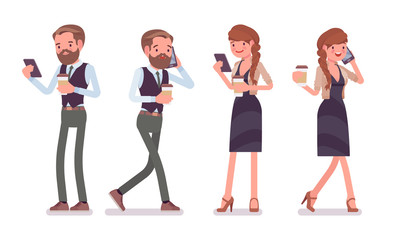 Handsome male and pretty female office employee with phone, coffee