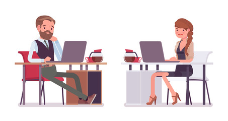 Handsome male and pretty female office employee sitting at desk