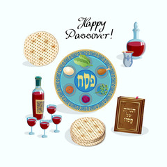 Happy Passover Jewish Holiday symbols, icons set, four wine glass, matza - jewish traditional bread for Passover Festival, passover plate, haggadah, seder pesach greeting card vector Israel Design