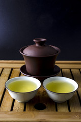 gaiwan for Chinese tea ceremony and two cups of tea