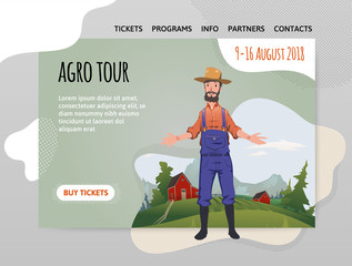 Happy farmer on the farm. Man welcomes visitors to the farm. Agriculture, farming, agrotourism. Design template of website, poster, print media. Vector illustration.