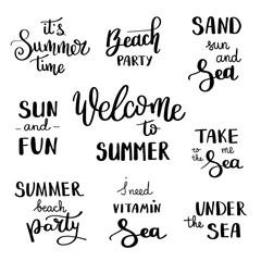 Summer hand drawn brush letterings. Summer typography - hello summer. Handwritten inscription vector.