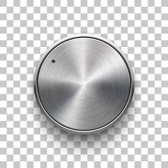 Fototapete - Audio volume knob, technology music button template, with metal circular brushed texture, chrome, silver, steel and realistic shadow for design concepts, web, interfaces, UI, apps. Vector Illustration
