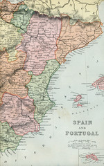 Antique Map of Spain and Portugal - Early 1800 Vintage Maps of the World