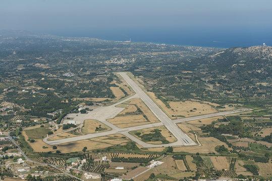 Aerial image of the military air base of Rhodes Maritsa