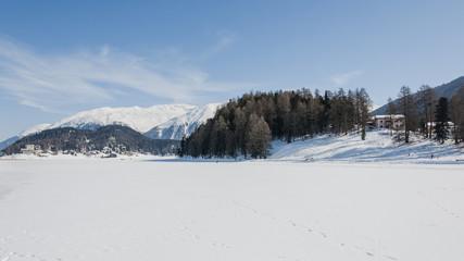 St. Moritz, Engadin, Oberengadin, St. Moritzersee, Eisfläche, Stazerwald, Muottas Moragl, Pontresina, Winter, Wintersport, Alpen, Graubünden, Schweiz