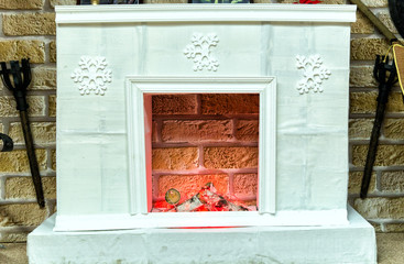 Traditional fireplace with marble lining