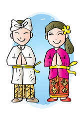 Cartoon costume. Bali Indonesian traditional clothes.