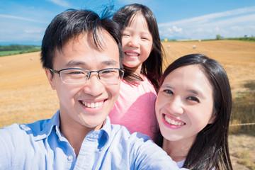 family selfie in Hokkaido paddy