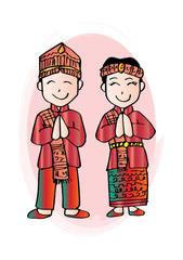 Cartoon costume. Batak, north sumatera Indonesian traditional clothes.