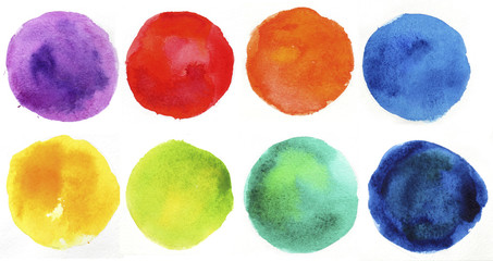 Watercolor hand painted circle shape design elements.