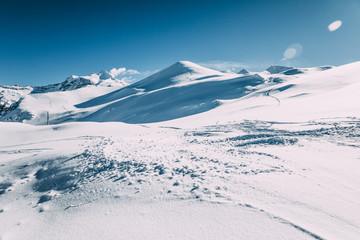 beautiful white snow in winter mountains, mayrhofen ski area, austria