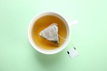 Printed kitchen splashbacks Tea Mint tea bag in a cup