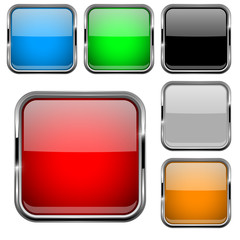 Glass buttons with chrome frame. Colored set of shiny square 3d web icons