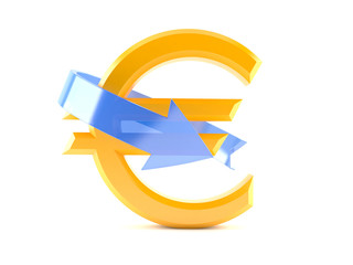 Euro currency symbol with blue arrow