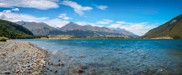 Alpine panoramic landscape at Diamond lake with Mount Alfred in the background  in New Zealand