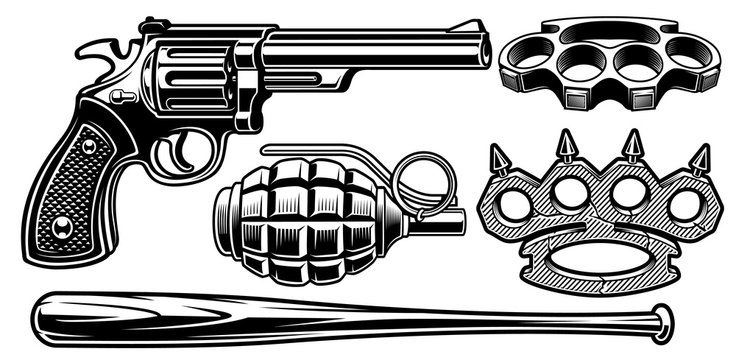 Set of black and white illustrations of different weapons.