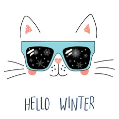 Hand drawn portrait of a cute cartoon funny cat in sunglasses with snowflakes reflection, text Hello Winter. Isolated objects on white background. Vector illustration. Design for change of seasons.