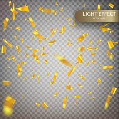 Golden confetti falls isolated.