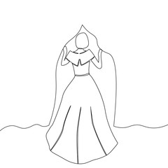 Line drawing of young slim woman bride waiting impatiently.