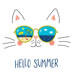 Canvas Prints Illustrations Hand drawn portrait of a cute cartoon funny cat in sunglasses with beach scene reflection, text Hello Summer. Isolated objects on white background. Vector illustration. Design change of seasons.