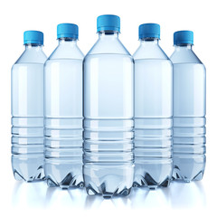 Group of plastic bottle with water