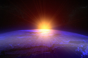 3D rendering of a sunset / sunrise from space