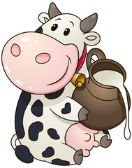 Cartoon chubby cow with jug of milk. Vector clip art illustration with simple gradients.